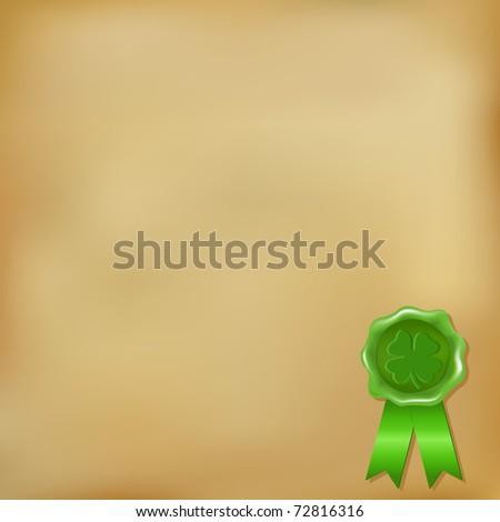 Wax Seal, St. Patrick's Day, Isolated On Vintage Background, Vector Illustration