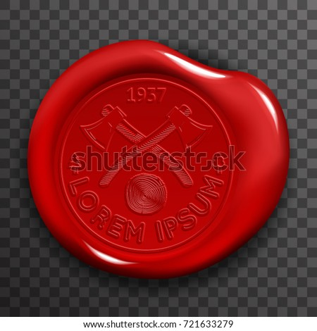 Wax Seal Stamp Red Certificate Sign Transparent Background Mockup Icon 3d Design Realistic Vector Illustration