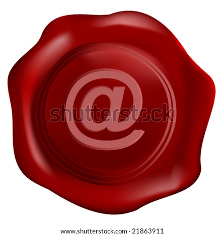 Wax seal vector with internet symbol