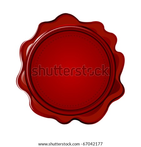 Wax seal with blank field - stock vector