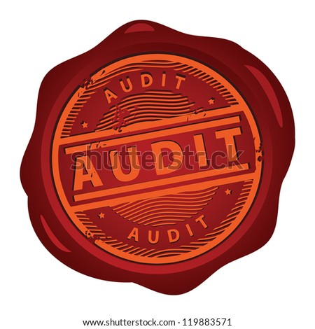 Wax seal with text Audit inside, vector illustration