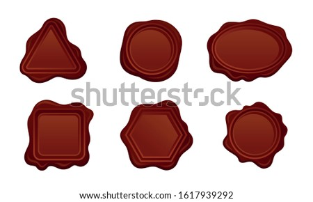 Wax Seals Vector Set. Red Sign for Document Sealing Concept