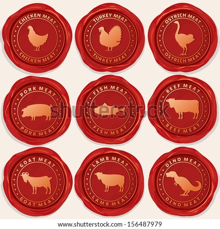 Wax Seals with Picture of Animals Used for Food From the Meat Industry. Set include: Chicken, Turkey, Pig, Fish, Cow, Goat, Lamb and Ostrich Icons.