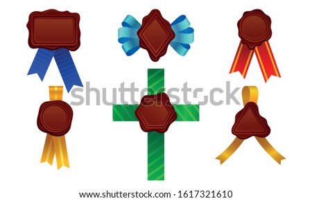 Wax Seals with Ribbon Vector Set. Red Sign for Document Sealing Concept
