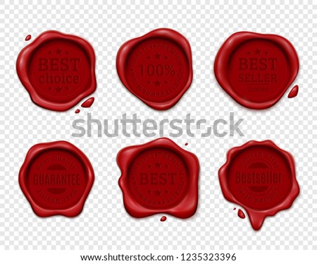 Wax stamp product ad set with six isolated wafers on transparent background with silhouette text emblems vector illustration