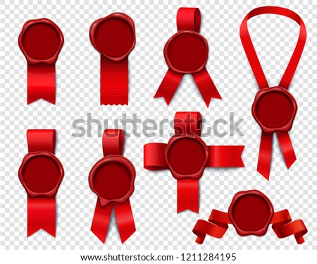 Wax stamp ribbons set of realistic 3d isolated images with empty seals and festive red ribbon vector illustration stock photo