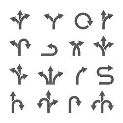 way direction arrow sign vector set, icon illustration design template. three-way direction arrow sign. Way vector icon illustration design template.
