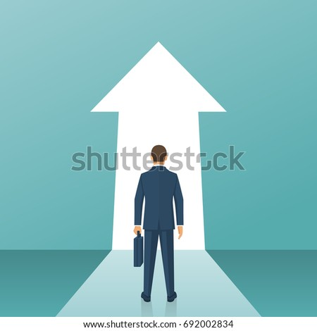 Way forward concept. Businessman in suit stands in front of an arrow ahead. Look into future. Business metaphor. Direction to achieve goal. Vector illustration flat design. Isolated on background.