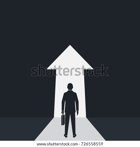 Way forward concept. Silhouette businessman in suit stands in front of an arrow ahead. Look into future. Direction to achieve goal. Vector illustration flat design. Isolated on background.