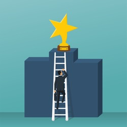 Way to success. Cup stars standing on pedestal. Businessman climbs up stairs to prize. Up podium. Vector illustration flat design. Isolated on background. Achieving reward. Man in suit with briefcase.