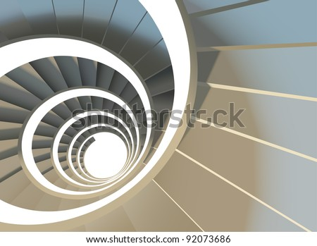 Way to success. Vector illustration of abstract endless spiral staircase with soft shadows