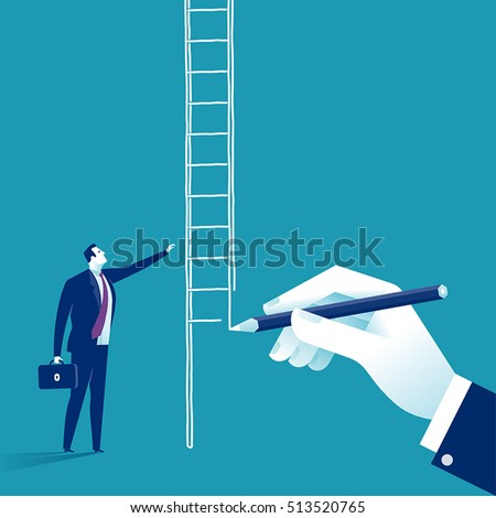 Way Up. Hand draw ladder for a businessman. Concept business vector  illustration.