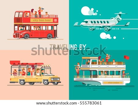 Ways of traveling. Trip to world by different vehicles. Travel by car, by plane, by boat, on the SUV. 3d illustration set.