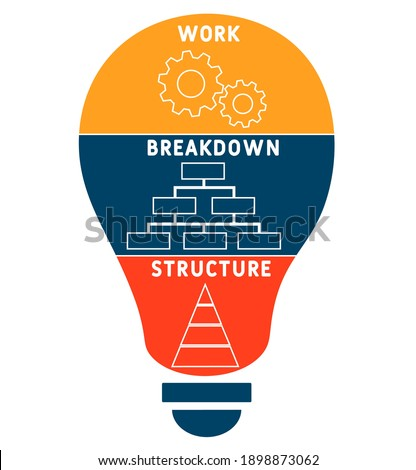 WBS - Work Breakdown Structure   acronym. business concept background.  vector illustration concept with keywords and icons. lettering illustration with icons for web banner, flyer, landing Stock photo ©