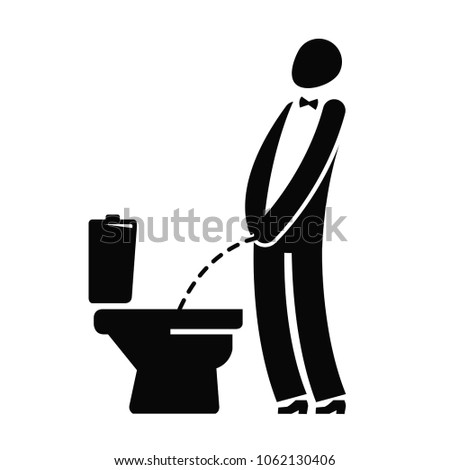 WC, funny symbol. Man or gentleman peeing in toilet. Vector illustration