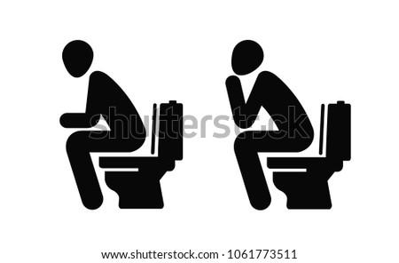 WC, funny symbol. Man sitting on toilet. Vector illustration