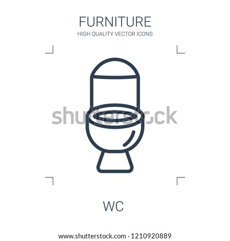 wc icon. high quality line wc icon on white background. from furniture collection flat trendy vector wc symbol. use for web and mobile