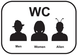 WC icon. Male and female alien restroom