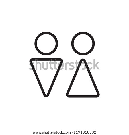 Wc icon. Toilet and restroom icon. Male,female symbol. Bathroom vector. Door and plate symbol. Linear style sign for mobile concept and web design. Wc symbol illustration. Pixel vector graphics