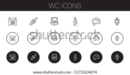 wc icons set. Collection of wc with sewing box, gender, sink, soap, urinal. Editable and scalable wc icons.