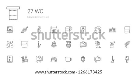 wc icons set. Collection of wc with soap, urinal, potty, sink, toilet, toilet paper, toilet brush, plunger, gender, sewing box. Editable and scalable wc icons.