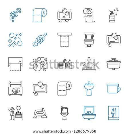 wc icons set. Collection of wc with toilet, sink, soap, potty, toilet paper, sewing box, gender. Editable and scalable wc icons.