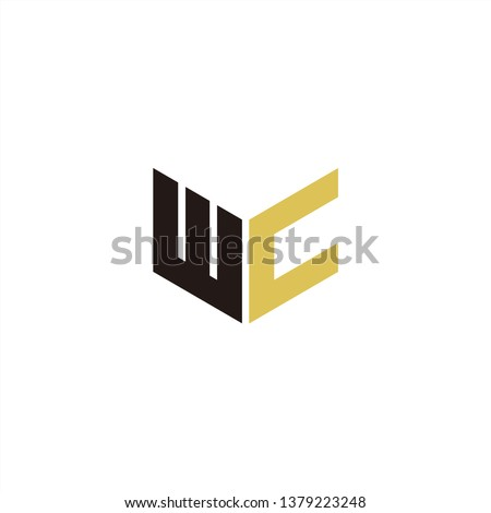 WC Logo Letter Initial With Black and Gold Yellow Colors