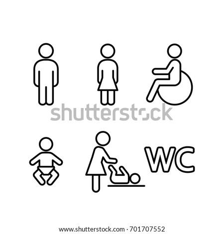 wc restroom toilet line black icons set