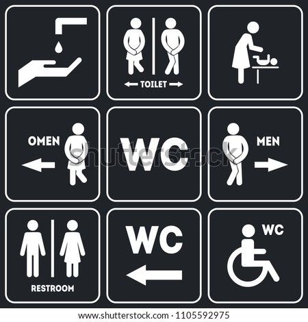 WC Sign for Restroom Set Include of Public Toilet for Male and Female Gender Symbols. Vector illustration of Information Signage