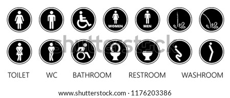 Wc toilet bathroom restroom woman lady girl men boy young  vector eps icon icons pictogram symbol symbol sign signage fun funny wheelchair handicap people pissing human template print imprint entry