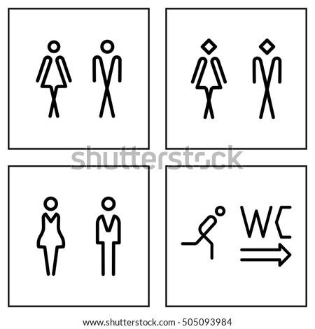 WC / Toilet door plate icon set. Men and women WC line sign for restroom.