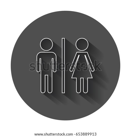 WC, toilet flat vector icon. Men and women sign for restroom with long shadow. #653889913