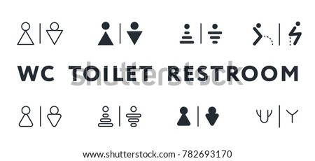 WC Toilet Restroom Lavatory Men and Women Sign Flat Line Stroke Icon Pictogram Symbol Illustration