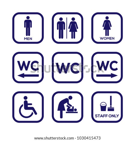 WC toilet sign door plate icon set. Man and women toilet sign icon set. Ladies restroom sign icon set. Gentleman restroom sign icon set.
