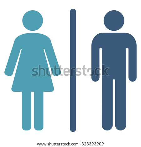 WC vector icon. Style is bicolor flat symbol, cyan and blue colors, rounded angles, white background. Human toilet.