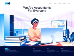 We are Accountants for everyone isometric landing page. Business accounting, financial audit isometry website page. Accountant at workplace web concept, vector illustration with people character.