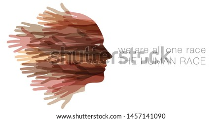 We are all one race.  The Human race.  A face made with hands   Сток-фото ©