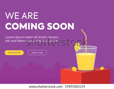 we are coming soon. we are coming soon announcement banner and complete post template. coming soon announcement banner with a glass of lemonade, with dark purple background. restaurant opening soon.