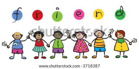 We are FRIENDS! (vector) - cartoon illustration of multi racial kids holding hands