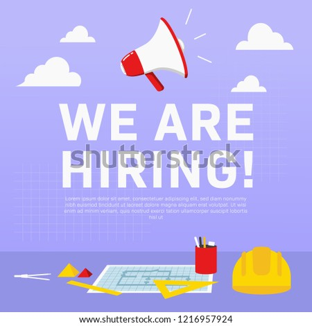 We are hiring architecture civil engineer. Recruitment poster ads illustration for architect civil engineer in square format for social media promotion