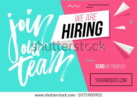 We are hiring banner design concept. Business hiring and recruiting template. Vector illustration.