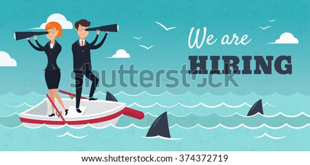 We are hiring banner. Vector illustration of businessman and businesswoman on boat watching through telescope. HR concept
