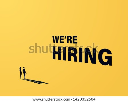 We are hiring business vector concept with businessman and woman and 3d text. Symbol of recruitment, career opportunity, vacancies. Job offers banner, poster template. Eps10 illustration.