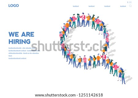 We are hiring concept, Recruitment Zoom Magnifying Glass Picking Business Person, Candidate, People Group, big team,  The choice of the best suited employee, Looking for talent. Businessman.