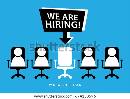 We are hiring / Employment recruitment job opportunity concept design
