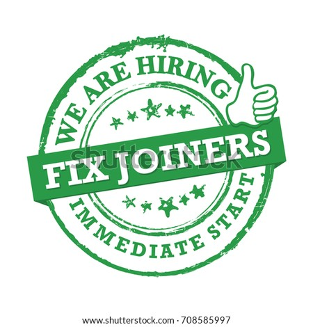 We are hiring - Fix Joiners. Green printable sticker designed for recruitment agencies.  Print colors used