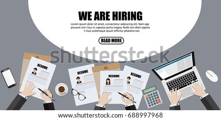 We are hiring, Human resource or HR management info graphic element and background. recruitment process.Flat designed vector illustration.