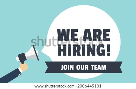 We Are Hiring. Isolated Object. Screaming slogan. Hand holding a megaphone. Cartoon style. The business concept of search and recruitment, Template Text Box Design. Vector Illustration. Сток-фото ©