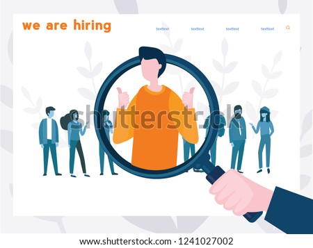 We are hiring  IT Talent, Business recruitment, human resources management, banner with characters, symbol of unique talent and skills, vector illustration, Concept for web page, banner, presentation.