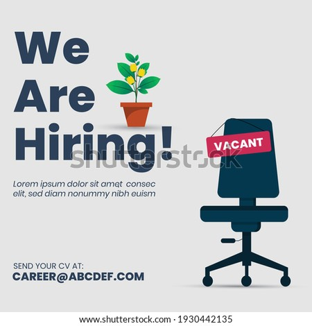 we are hiring join our team announcement banner for facebook post, vacant sign on empty office chair. We're Hiring with empty office ready to be occupied by employee. Business recruiting concept.